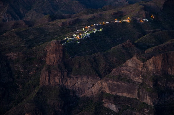 village of el toscon at sunset