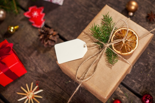 handmade wrapped christmas gift boxes on