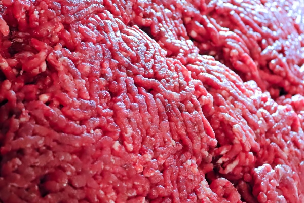closeup of detailed ground moose meat