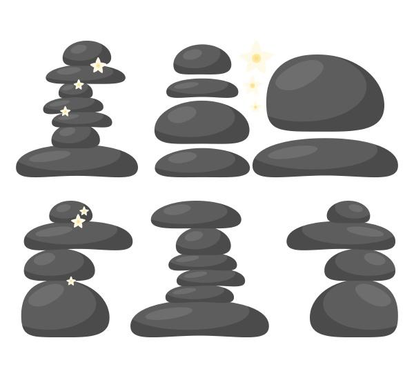 spa stones set isolated on white