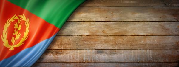 eritrean flag on vintage wood wall