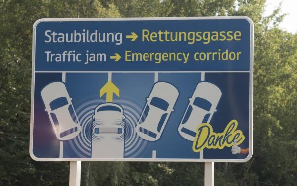 emergency corridor on a freeway or
