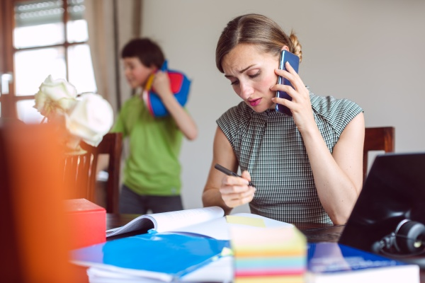stressed businesswoman forced to work from