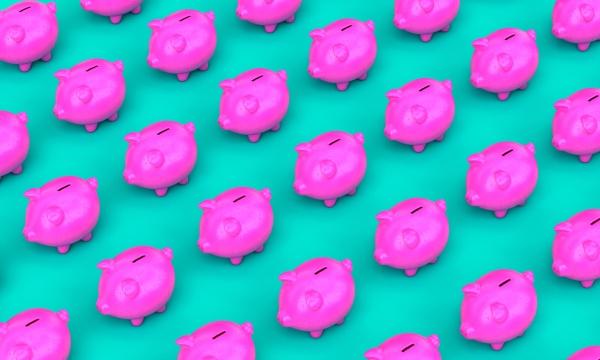 fuchsia piggy bank on a turquoise