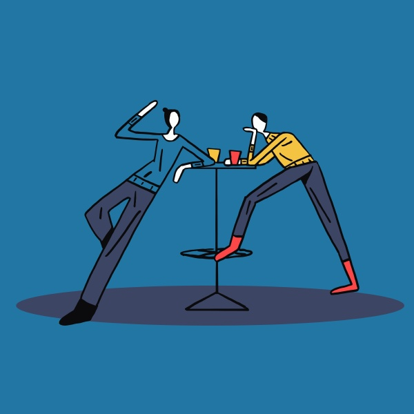 two friend break at work talking