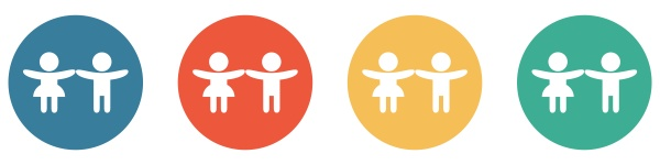 colorful banner with 4 buttons children
