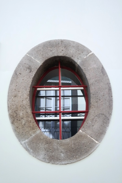 oval window with reflection