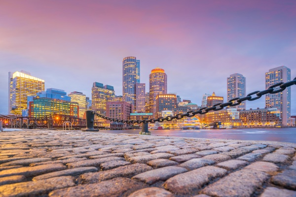 boston harbor and financial district at