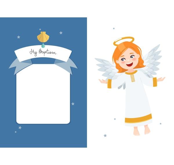flying angel baptism horizontal invitation