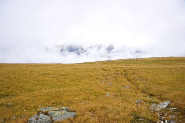 fog in the alpine mountains