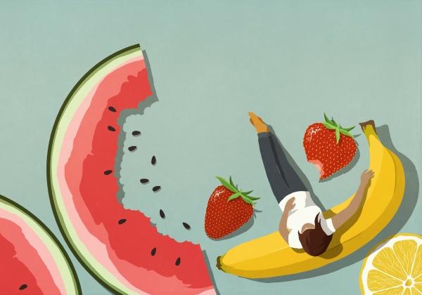 woman relaxing among fruit