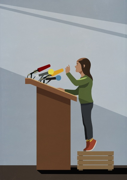 girl standing on crate at podium
