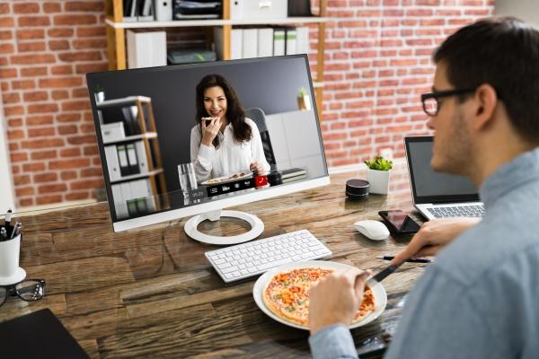 virtual office lunch break using video