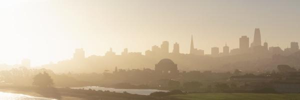 urban skyline during golden hour at
