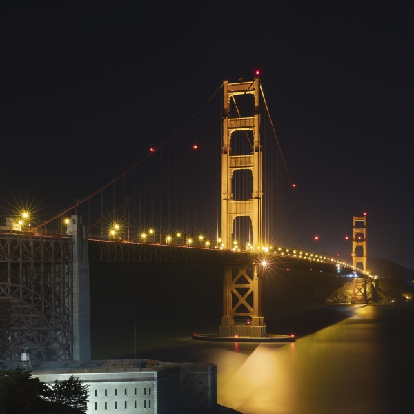 night view of glowing golden gate
