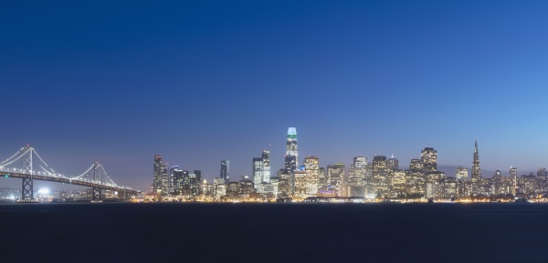 urban skyline of downtown district at