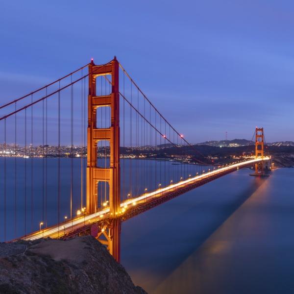 blurred motion on golden gate bridge