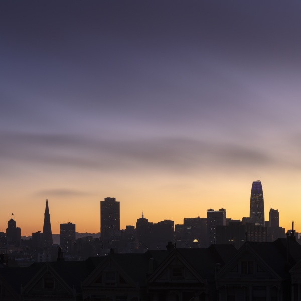 silhouette of downtown district of san