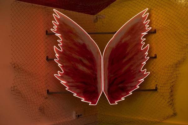 red glowing neon wings