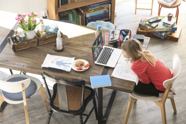 girl studying over laptop on dining