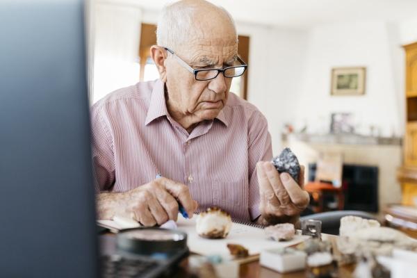 elderly man analyzing minerals and fossils