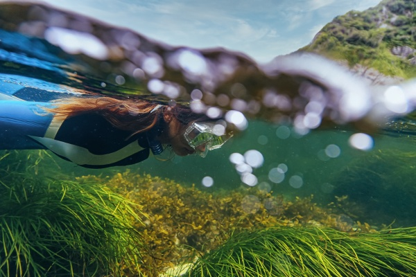 mid adult woman diving undersea