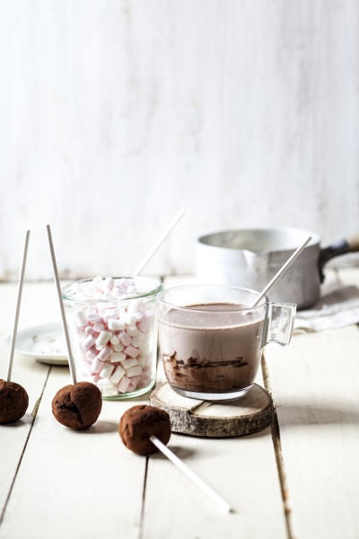 hot chocolate with truffles and marshmallows