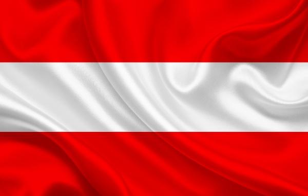 austria country flag on wavy silk