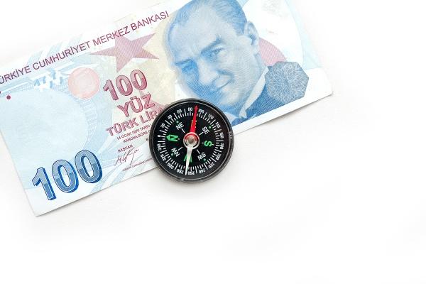 compass and 100 turkish lira close