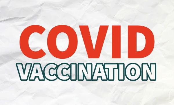 covid vaccination inscription on white background