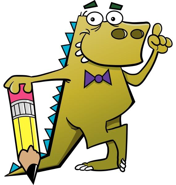 cartoon illustration of a dinosaur holding