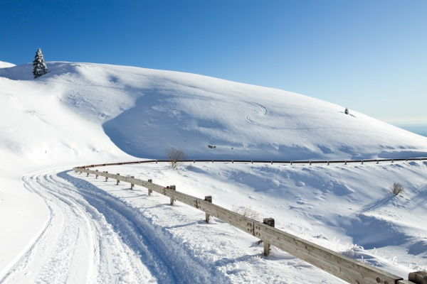 winter landscape curves road with snow