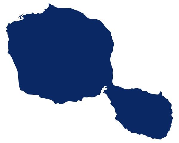 karte von tahiti in blauer farbe