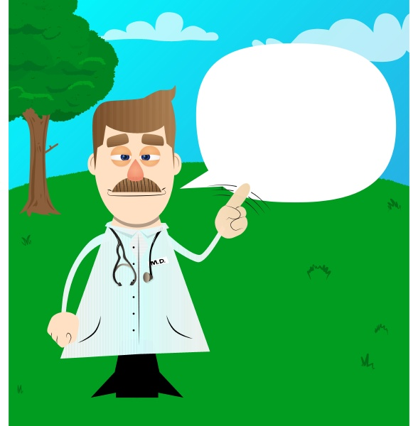 funny cartoon doctor saying no with