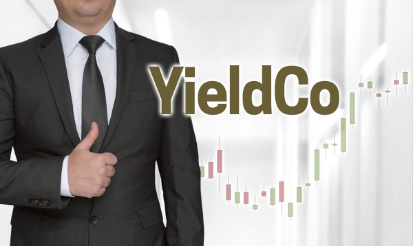 yieldco concept and businessman with thumbs