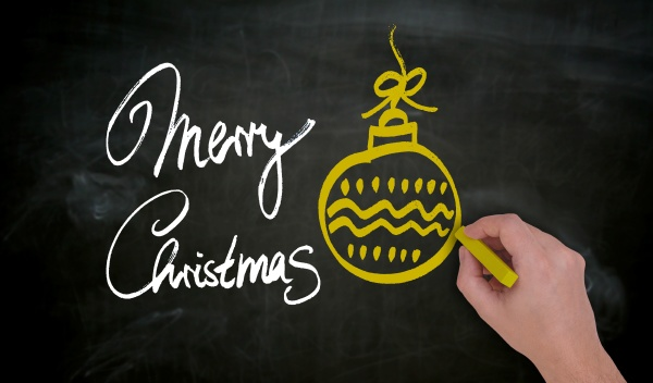 merry christmas is painted by hand
