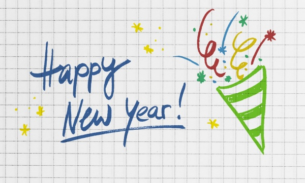 happy new year on checkered writing