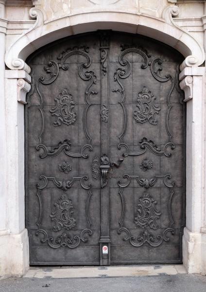 majestic medieval door with ornate metal