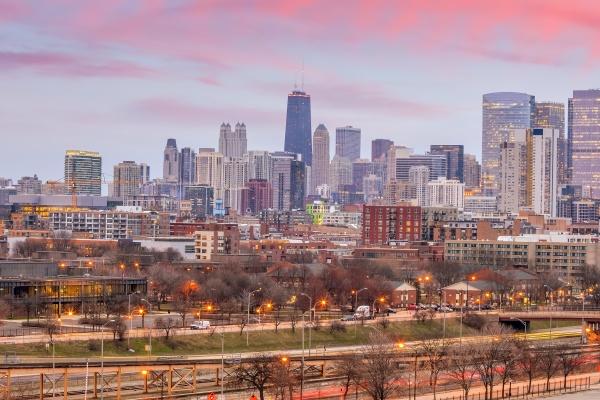 chicago city downtown skyline usa