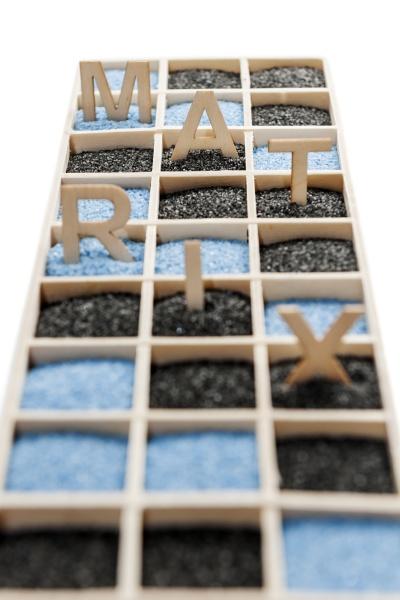 wooden box with word matrix flat