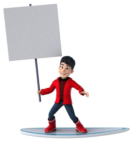 fun 3d cartoon teenage boy