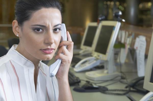 female customer service representative talking on