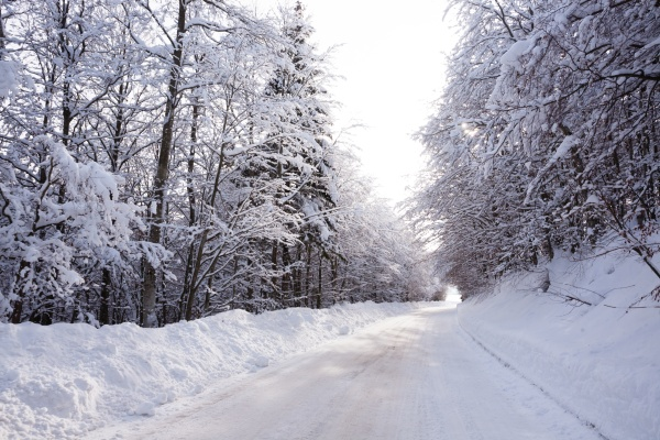winter landscape road covered by snow