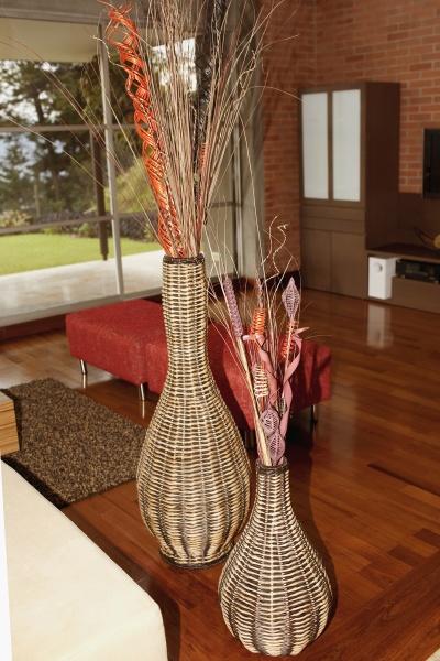 wooden flower vase in a living