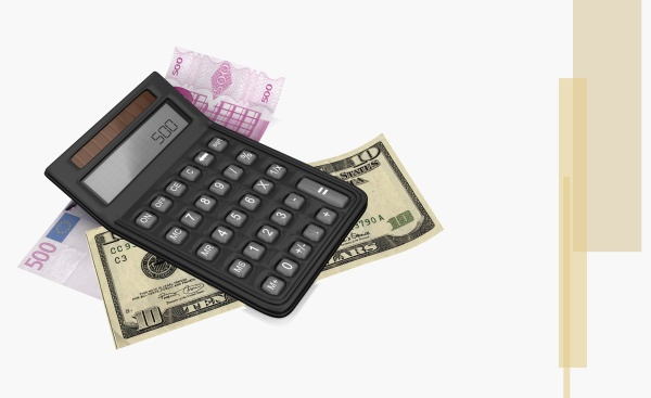 calculator on a five hundred euro