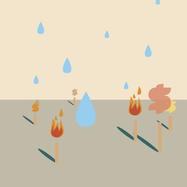water drops falling over flaming torches