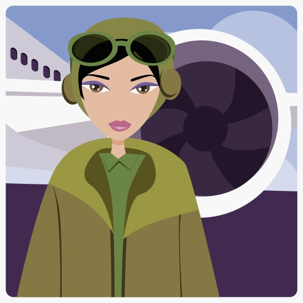 female pilot standing in front of