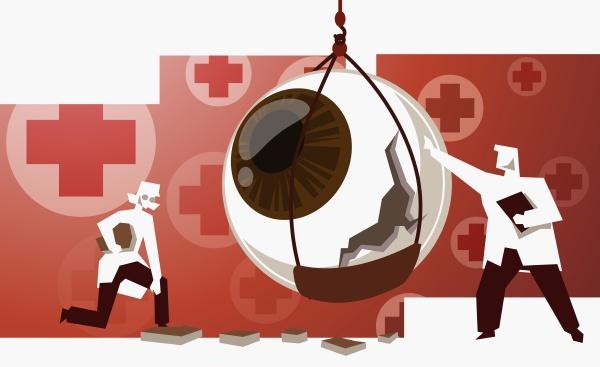 doctors examining a damaged eyeball