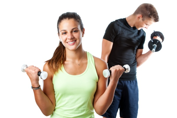 teen girl working out with boy