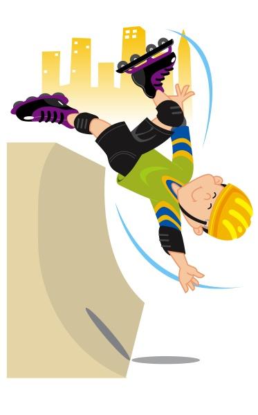 boy roller skating on a ramp